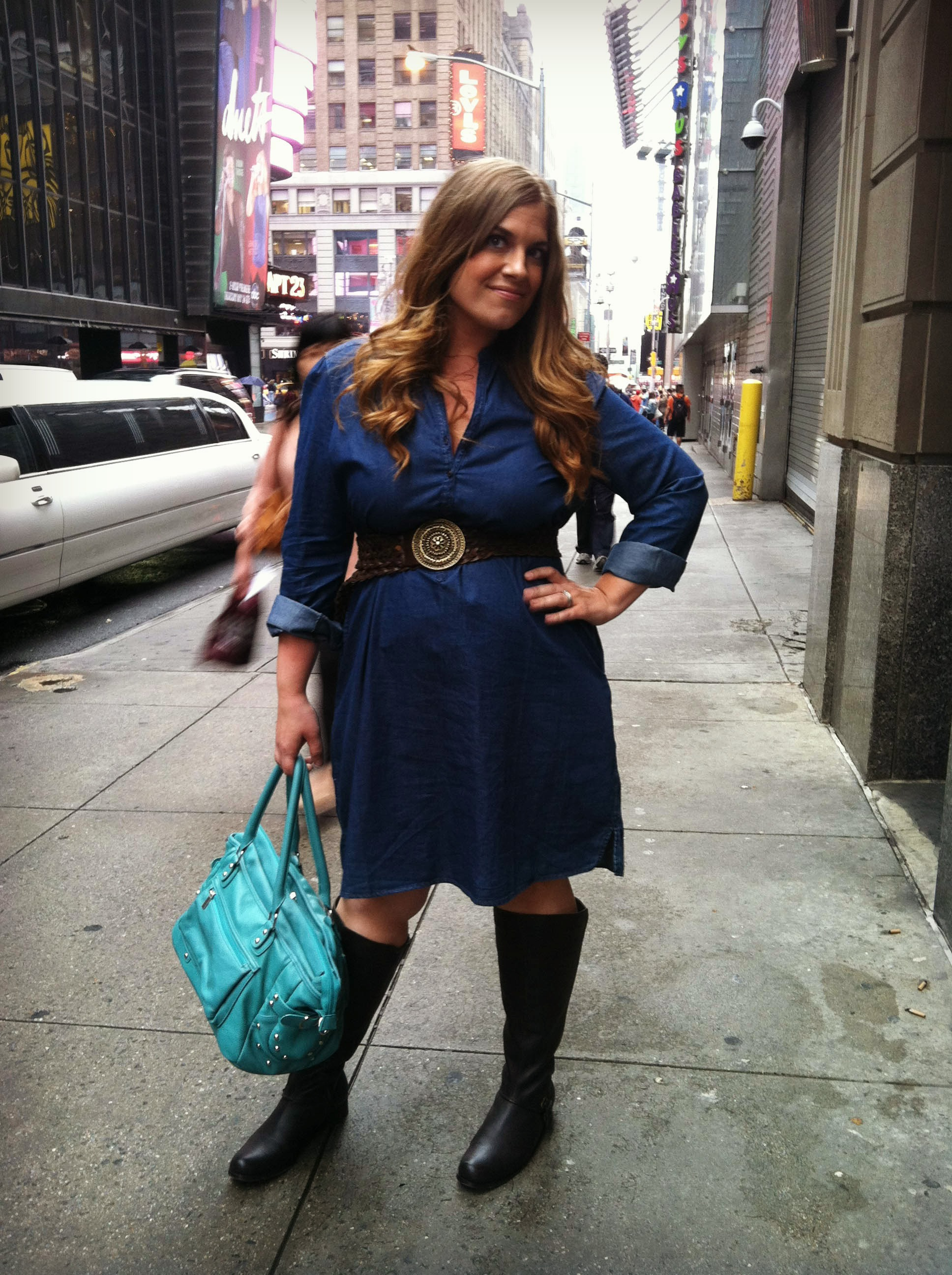 Denim dress with boots images