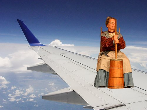 colonial woman on wing