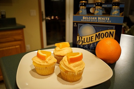 Easy Blue Moon Cupcakes with Vodka Infused Oranges