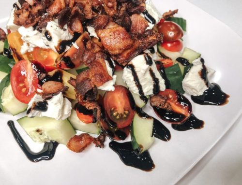 Cucumber Tomato Bacon Goat Cheese Salad