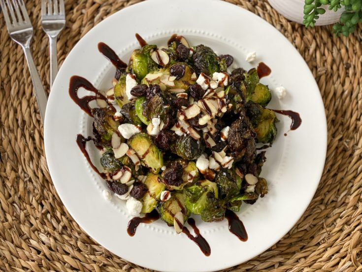 Roasted Brussels Sprouts with Goat Cheese and Dried Cherries